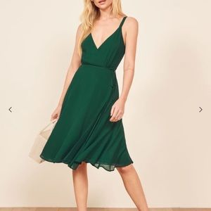 Reformation Mallory Dress Size M Green Barely Worn